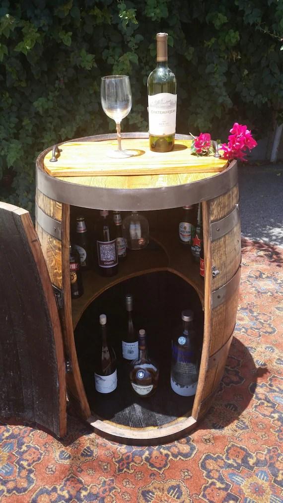Reclaimed Oak Whiskey Barrel Liquor CabinetMini Bar w