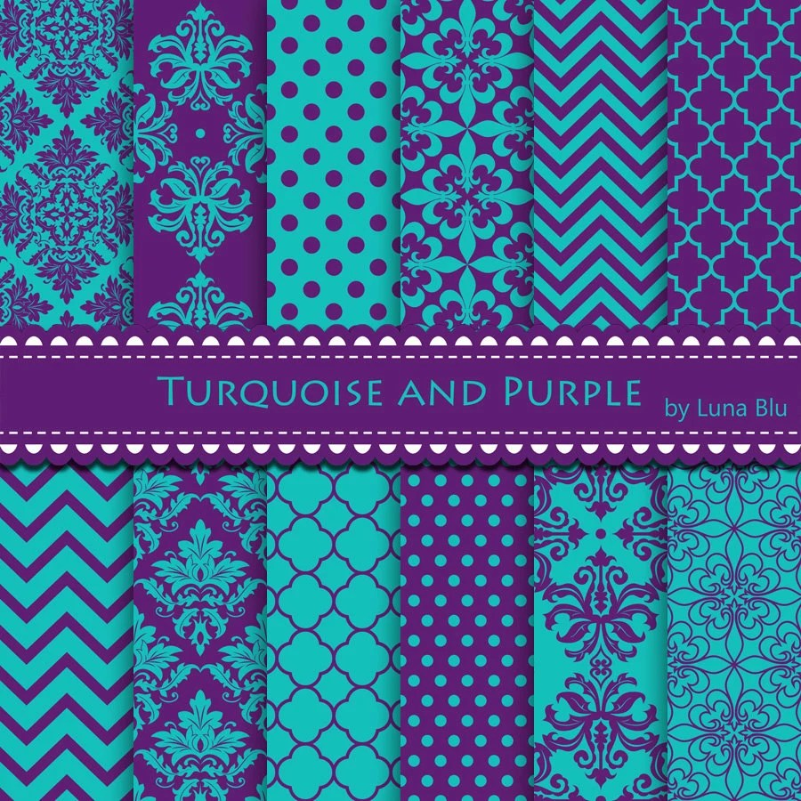 Turquoise and Purple Digital Paper Turquoise and by Lunabludesign