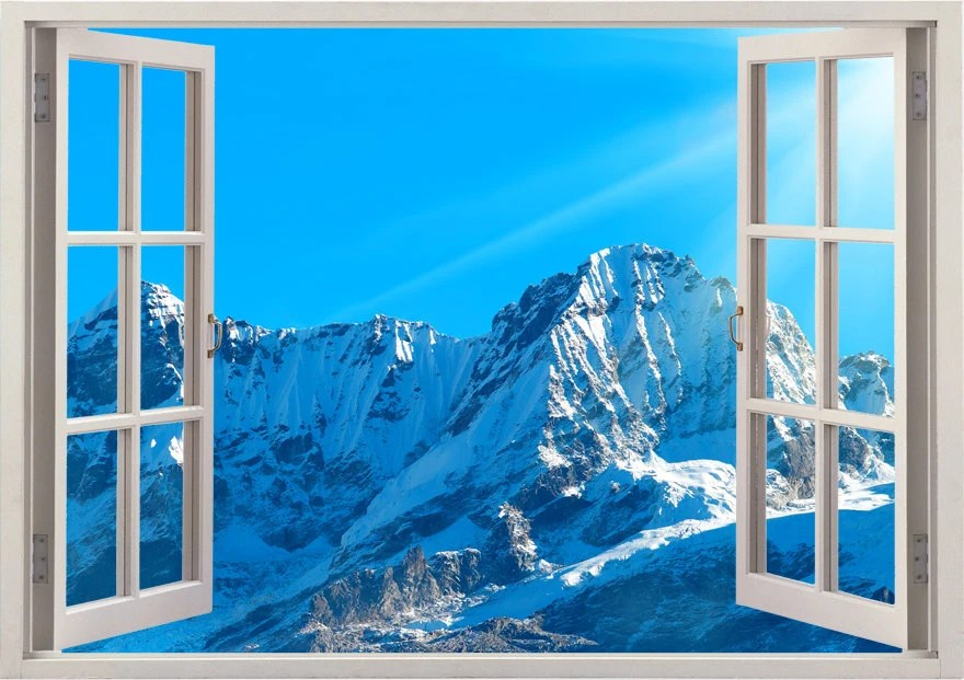 Create Own 3d Name Wallpaper Mountains Wall Stickers 3d Window Snow Mountain Decals For