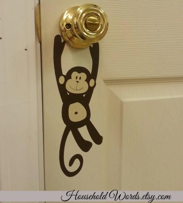 Monkey Door Knob Vinyl Decal Hanger Decals