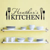Personalized Name Kitchen Wall Decal Kitchen Utensils Wall