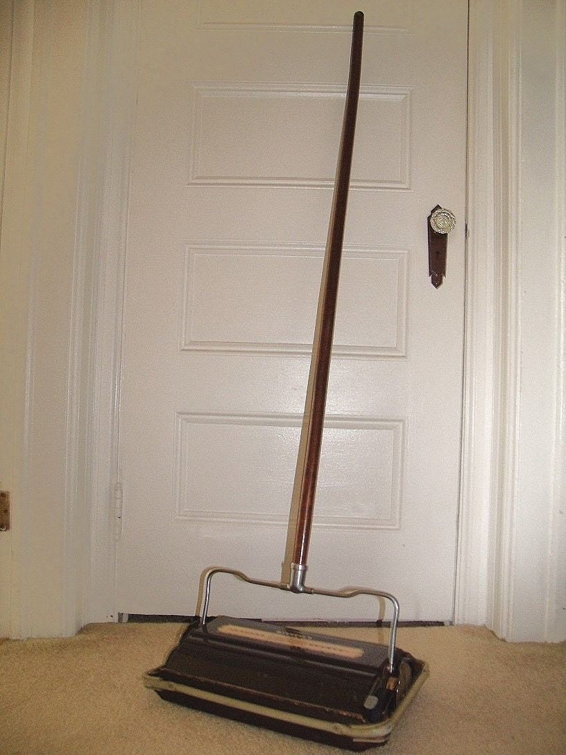 Antique Wood  Metal Carpet Sweeper Vintage Bissells