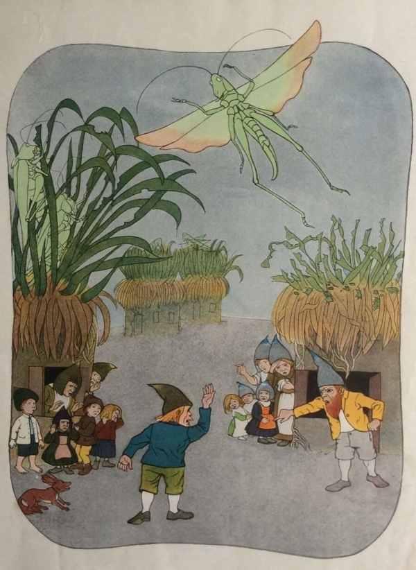 Antique 1902 German Childrens Gnome Dwarf Book Illustration