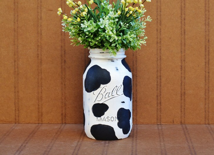 Cow Print Painted Mason Jar Shabby Chic Decor Vase Bloomshoppe