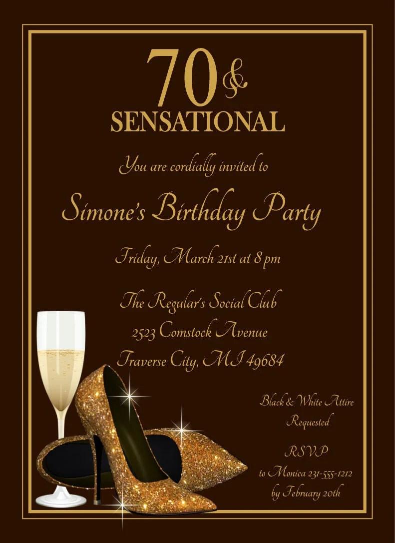 70th Birthday Invitation Champagne Glass Gold by