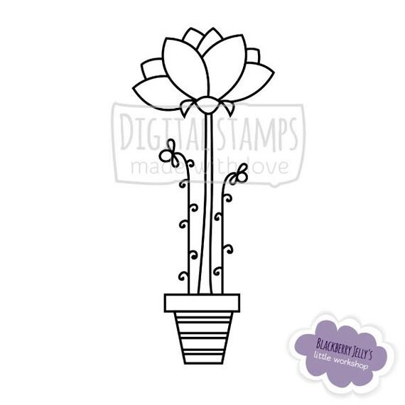 Digital Stamp Flowers in pot