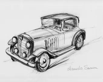 Classic Car Classic Ford 1920s Original Art Print FREE
