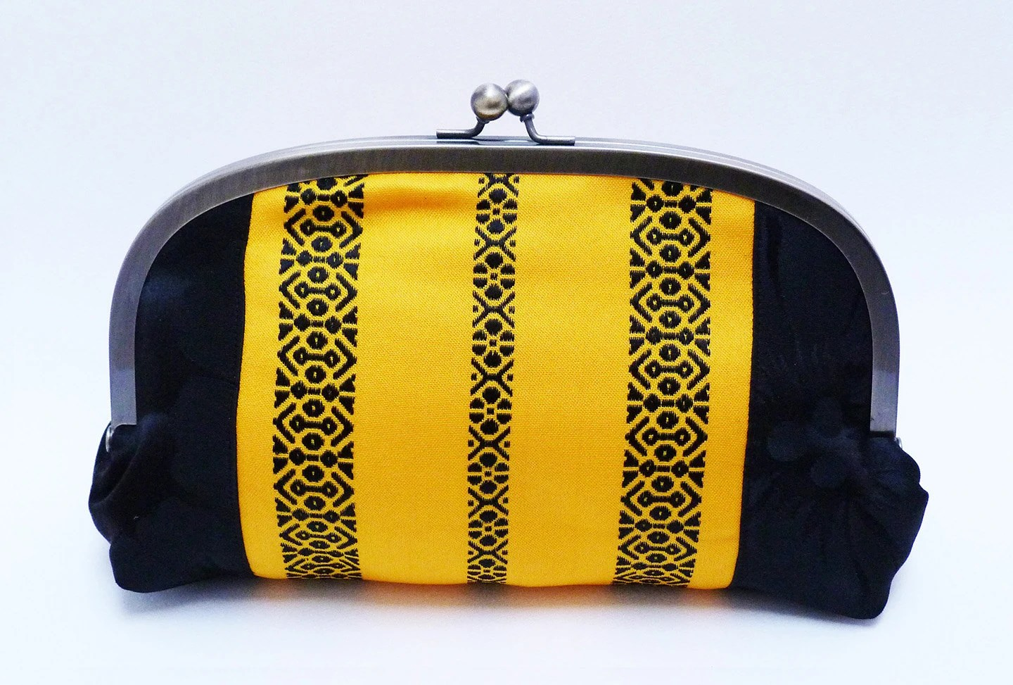 Clutch bag - Yellow and black obi fabric with multi colour lining - cheekyleopard