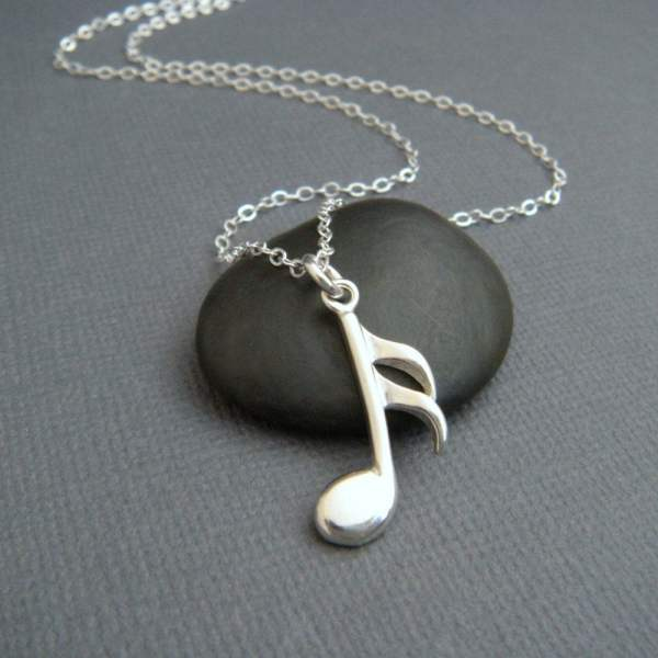 Silver Music Note Necklace. Sterling Musical Pendant Symbol