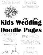 Kid's Wedding Activity Kit Doodle Pages- Digital File PDF: Cake Decorate, Getaway Car, Golf Cart, Bouquet Toss 4 Coloring page designs