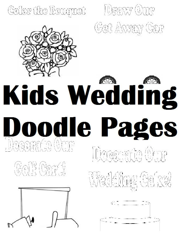 Kid's Wedding Activity Kit Doodle Pages Digital File PDF: