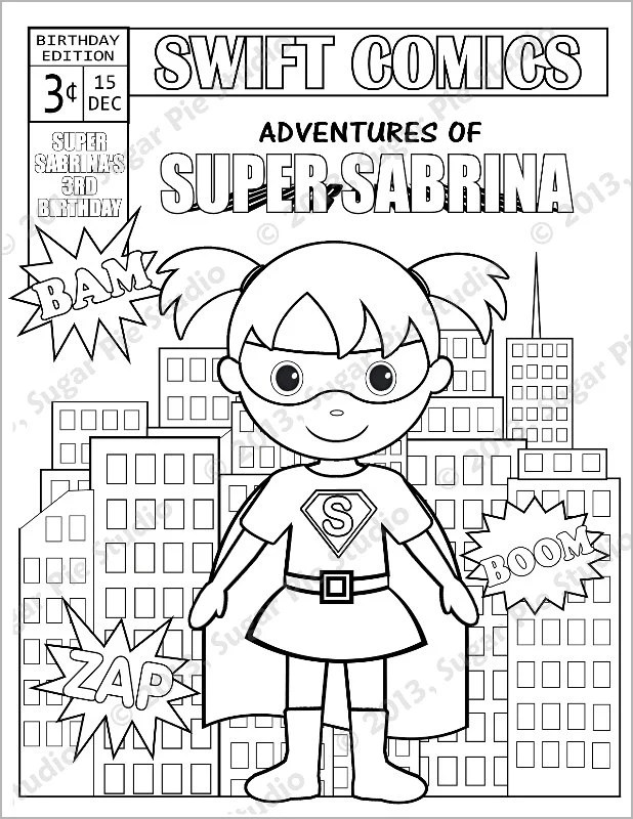 Personalized Printable Comic book SuperHero Girl Boy Birthday