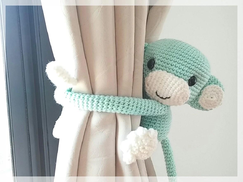 Monkey Curtain Tie Back Cotton Yarn Crochet Monkey