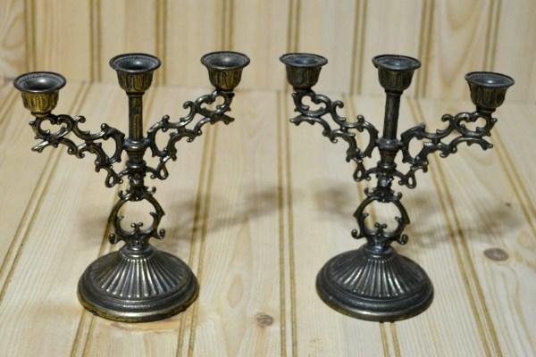 Vintage Mini Candelabra Italian Candle Holder Brass Ornate