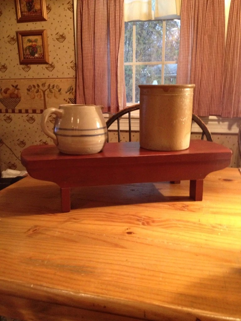 Primitive Table Riser Wood Hand Crafted Bench