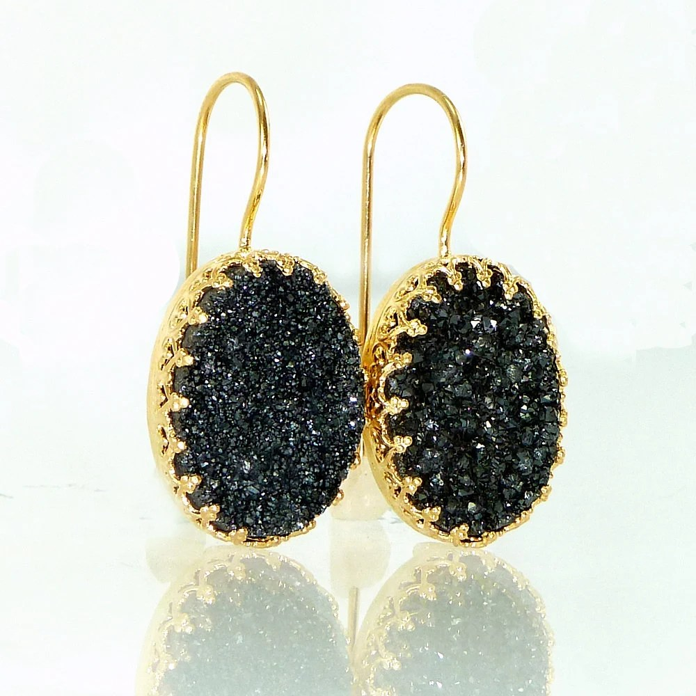 Black Druzy Earrings Druzy Drop EarringsBlack Oval by