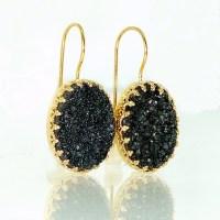 Black Druzy Earrings Druzy Drop EarringsBlack Oval by ...