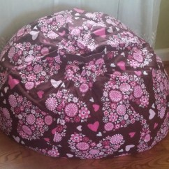 Girls Bean Bag Chairs Wooden Hammock Chair Stand Plans Brown With Pink Hearts By