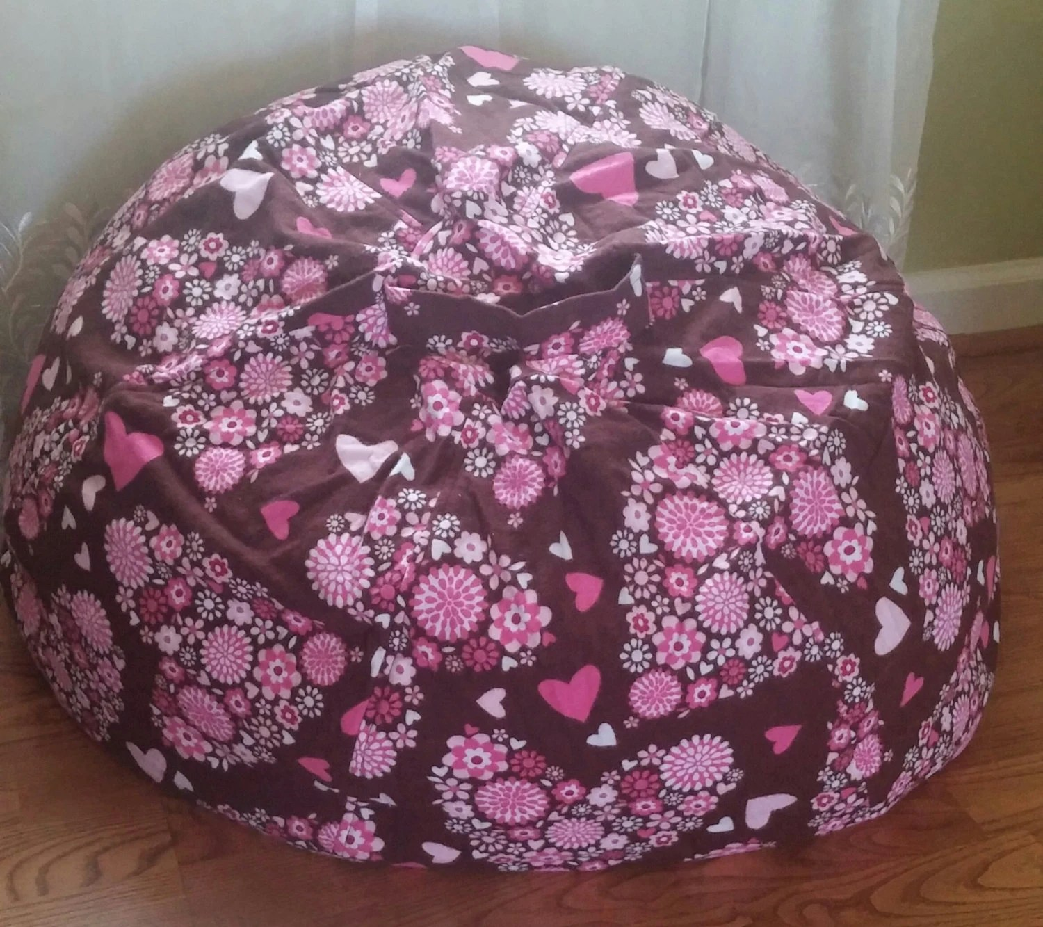 Brown Bean Bag Chair Girls Bean Bag Chair Brown With Pink Hearts By