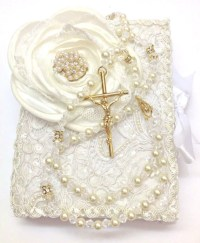 Lace Wedding bible and Rosary Bible Rosary Set Libro y