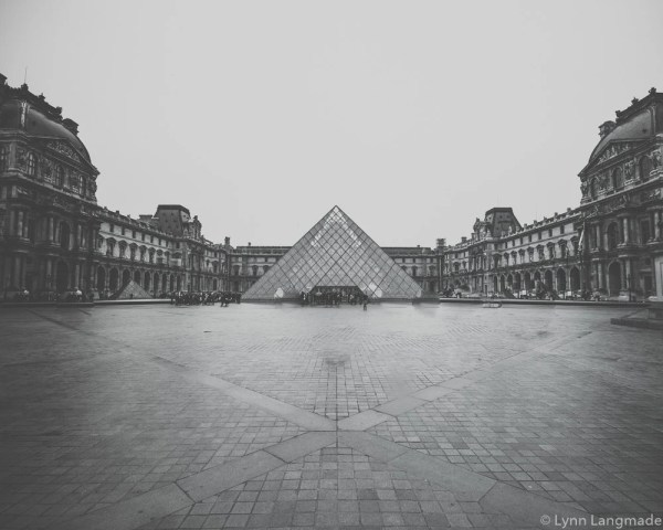 Black And White Louvre Courtyard Paris