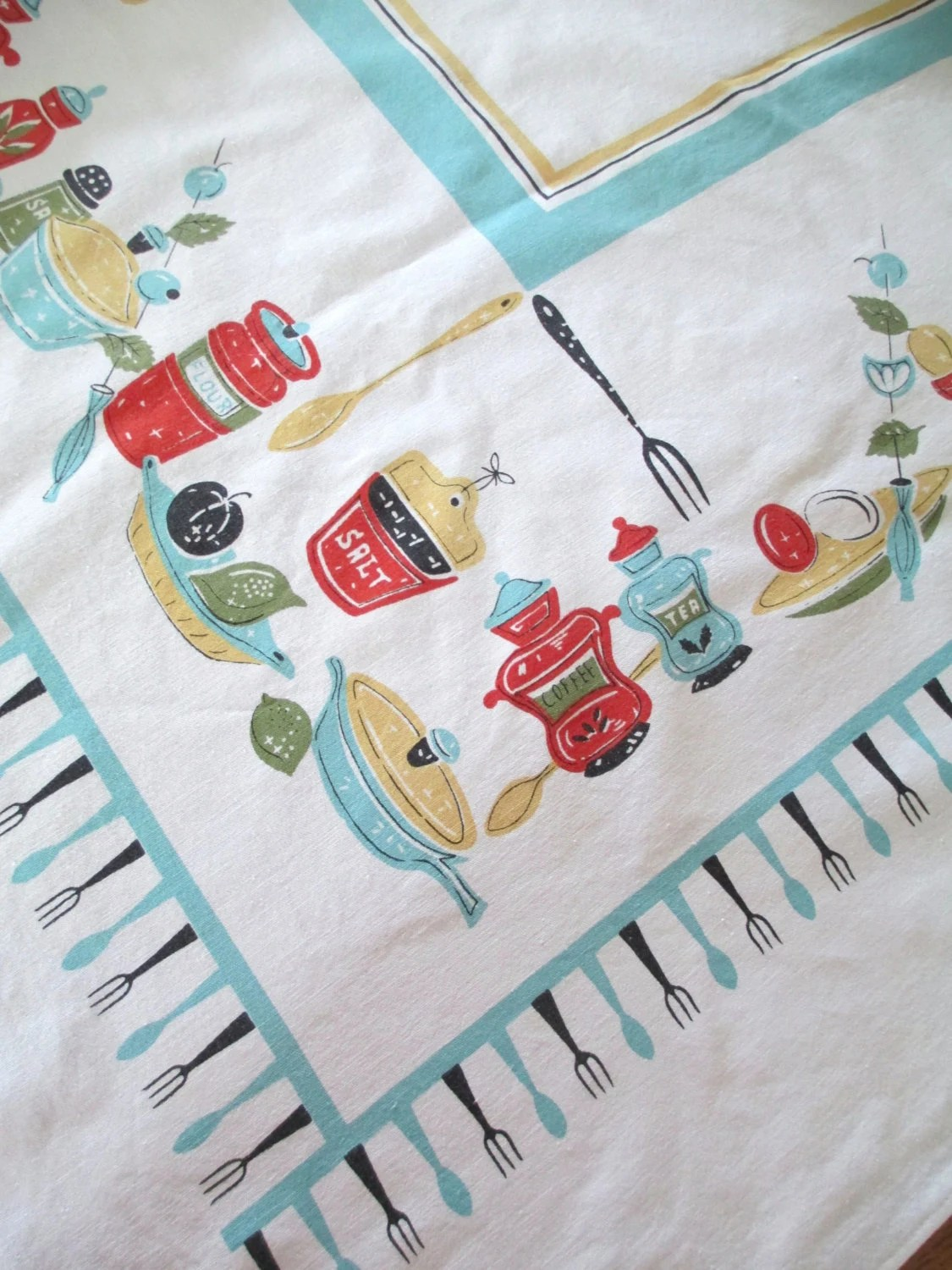 Vintage Cotton Printed Tablecloth Aqua Turquoise Blue Red