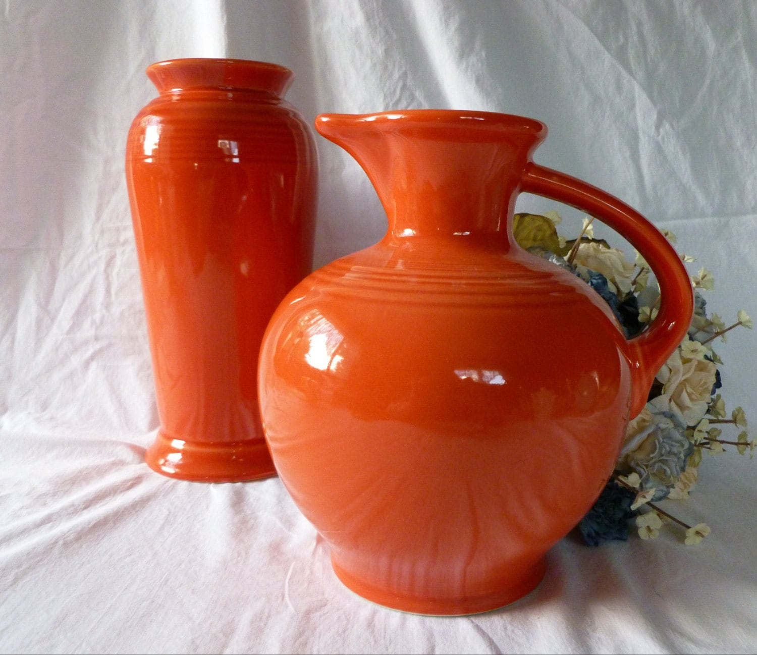 Vintage Orange Fiestaware Carafe Jug or Pitcher by Homer