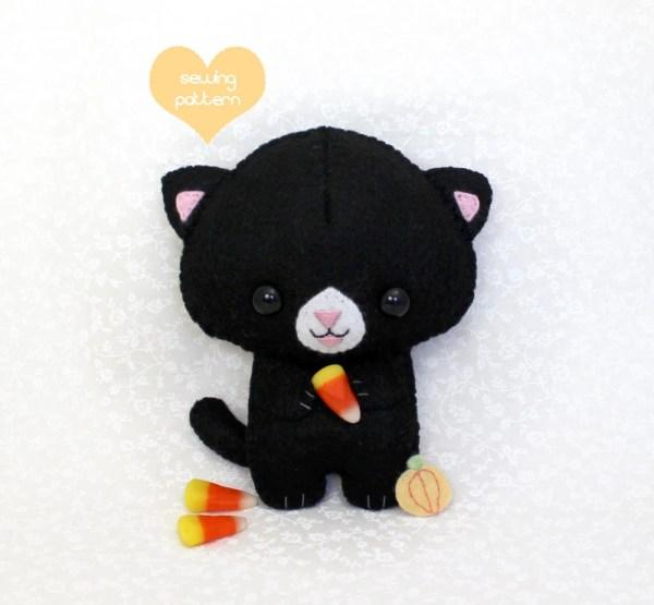 Pdf Sewing Pattern Halloween Black Cat Stuffed Teacuplion