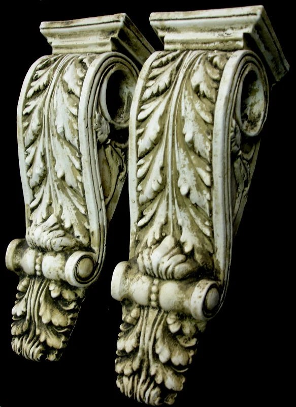 Antique Finish Shelf Acanthus Leaf Plaster Wall Corbel Sconce