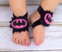 Batman Girl Pink And Black Baby Barefoot Sandals Newborn