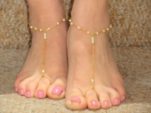 Bridal Pearl Barefoot Sandals Gold