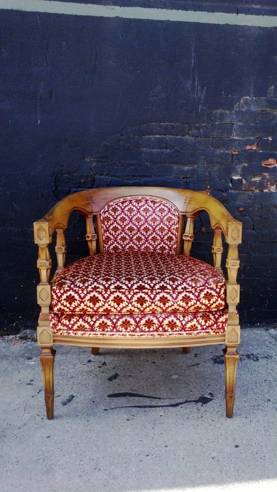 French round back arm chair Upholstered red white wood