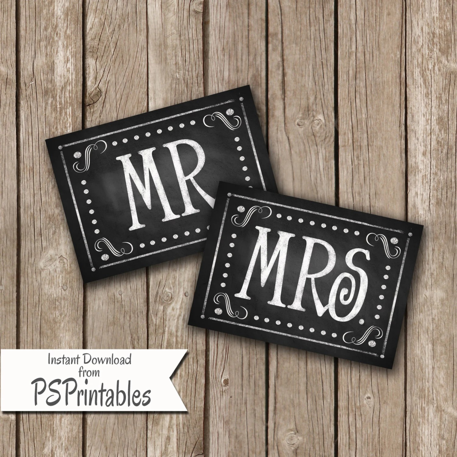 mr and mrs chair signs spotlight loose covers diy printable wedding in chalkboard style