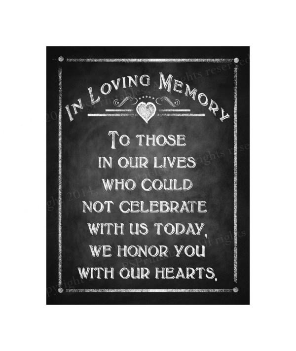 In Loving Memory Chalkboard Style Sign Wedding