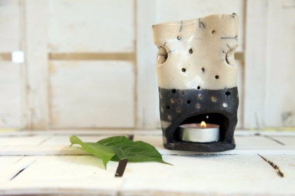 Candle Holder Raku Pottery Black And White Finds