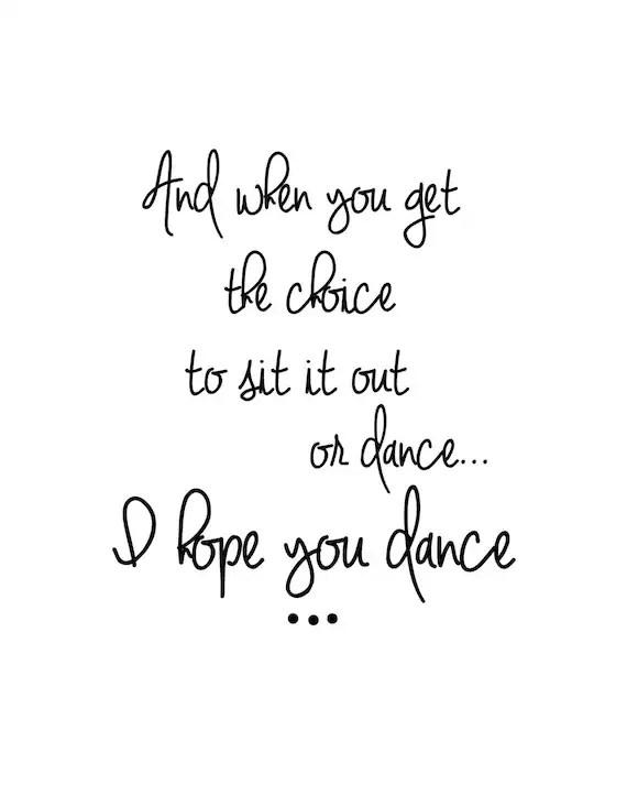 Items similar to I hope you dance sign, Dance art, Black
