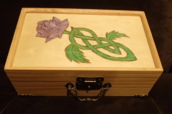 Lavender Rose Celtic Knot Woodburned Jewelry Box