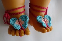 Crochet Baby Barefoot Sandals With Butterfly Pink Hot