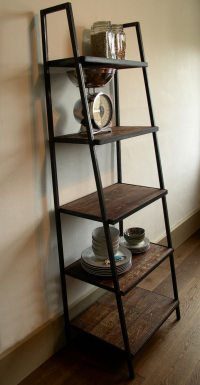 Industrial Style Ladder Shelving Unit dark distressed