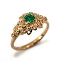 Emerald Art Deco Petal Engagement Ring 14K Rose Gold and