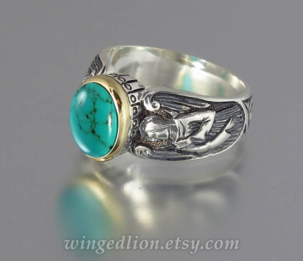 Guardian Angels Silver 14k Ring With Turquoise Sizes 5