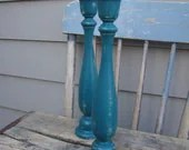 Antiqued Teal Wood Candlesticks, 6 3/4, 9, or 11 inches, you choose the size - TheBrokenHouse