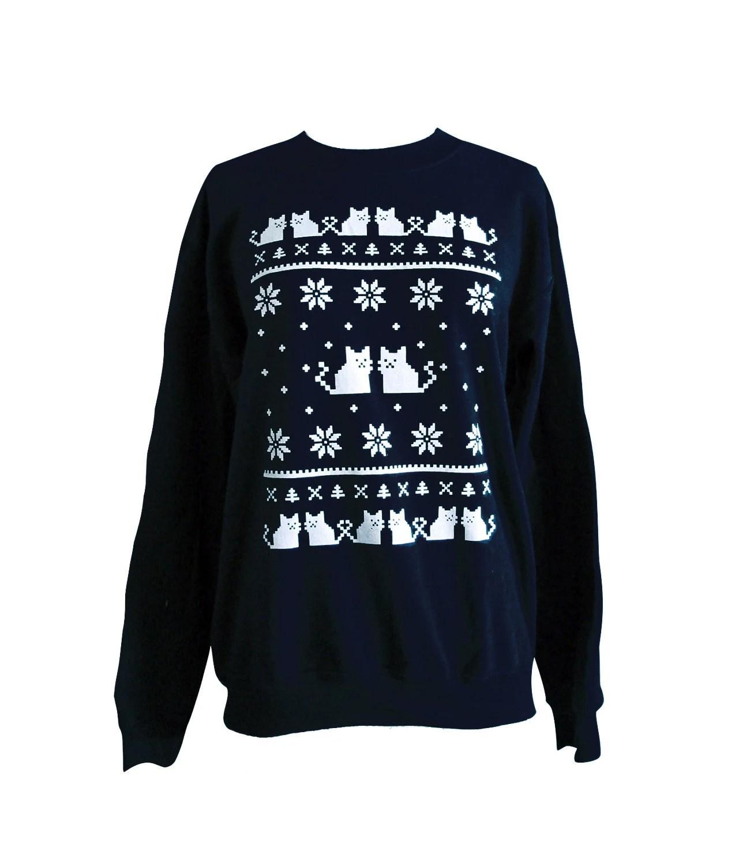 Cat Sweater - Ugly Christmas Sweatshirt - Unisex Sizes S, M, L, XL