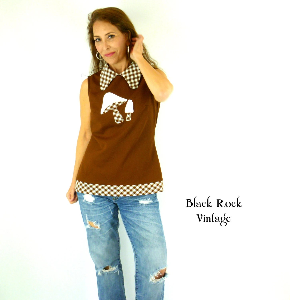 Mushroom Shirt Brown Sleeveless 1960s Vintage Size Small Medim by BlackRockVintage
