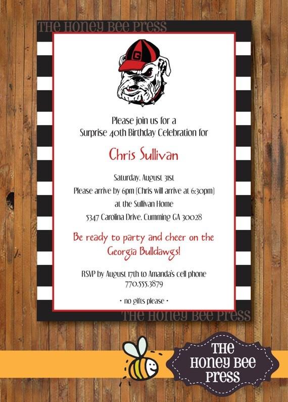 University Of Georgia Invitation UGA Georgia Bulldog