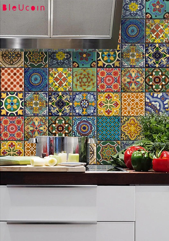 Tile decal  Mexican Talavera style 22 DESIGNSX 2 by Bleucoin