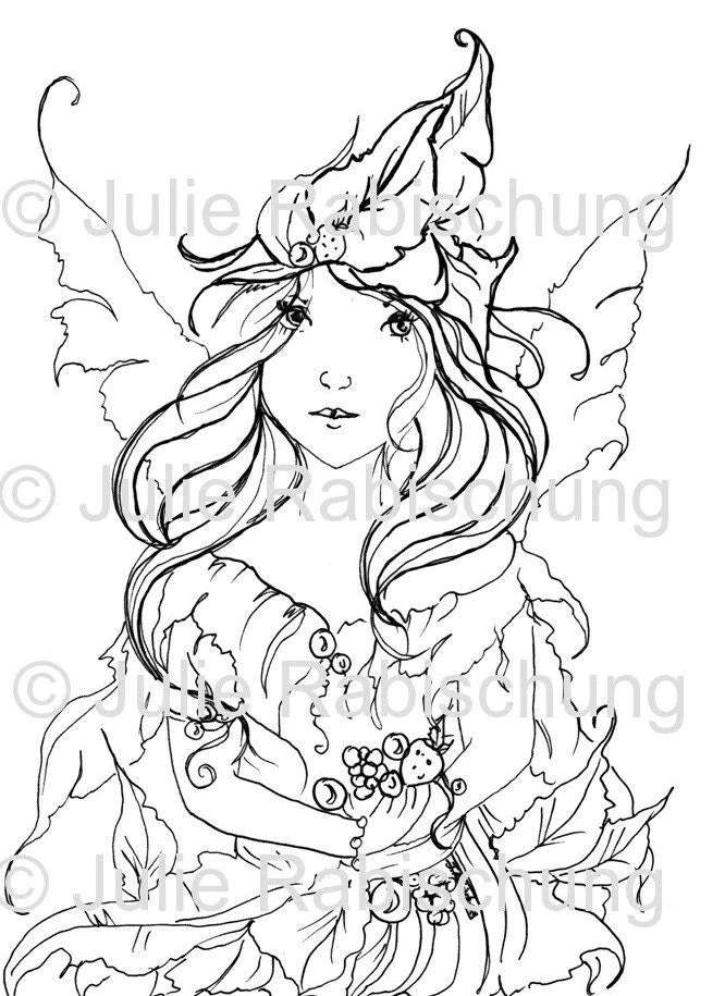 Digital stamp coloring page fantasy-fairy-pixie-light