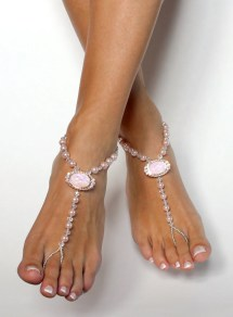 Soft Rose Barefoot Wedding Sandals Beach Shoes Anklet