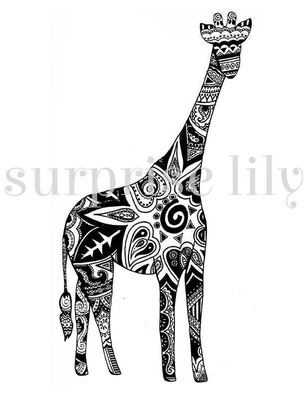 Items similar to Giraffe Floral Coloring Page Book Digital