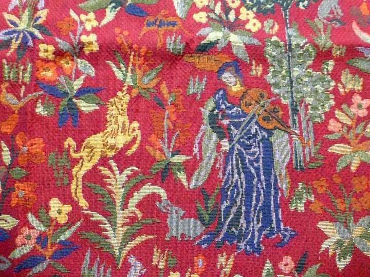 French Red Tapestry Jacquard Fabric Vintage 90s Medieval